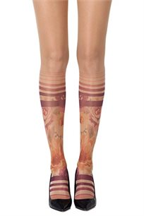 גרביון עם הדפס צבעוני Sock In The Garden Sheer - שקוף