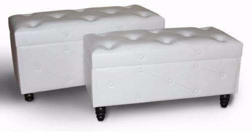 הדום ישיבה סט 2 ספסלים דמוי עור נפתח לבן בסגנון קפיטונאז'