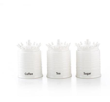 סט פורצלן לאחסון תה, קפה וסוכר נעמן