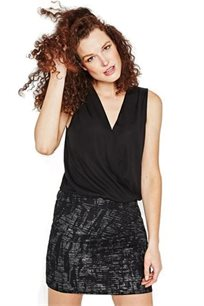 שמלת קוקטיל PROMOD לנשים - שחור בשילוב הדפס