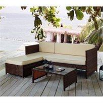 סט ריהוט גינה Seychelles הכולל שולחן ראטן סינטטי, משולב זכוכית וספת שזלונג ענקית מבית  Homax