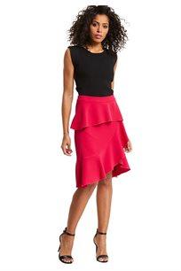 חצאית frill א-סימטרית MORGAN ארוכה בצבע פוקסיה