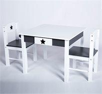 סט ריהוט לחדר הילדים או לפינת המשחקים הכולל שולחן עם מגירה לאחסון ושני כסאות