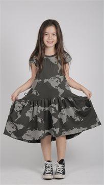 MAYAYA שמלת מתן נמוכה (2-14 שנים) גופרית הדפס מפה