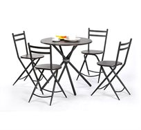 פינת אוכל מעוגלת כוללת 4 כיסאות מתקפלים