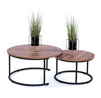 סט שולחנות קפה עגולים לסלון עשויים עץ בשילוב מתכת בעיצוב מודרני