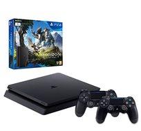 קונסולה Playstation 4 SLIM בנפח 1TB כולל 2 בקרים רוטטים HORIZON וסטנד שולחני מתנה!