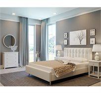 חדר שינה קומפלט BYANCA בעיצוב איטלקי מרהיב הכולל מיטה זוגית מרופדת עור, 2 שידות וקומודה GAROX