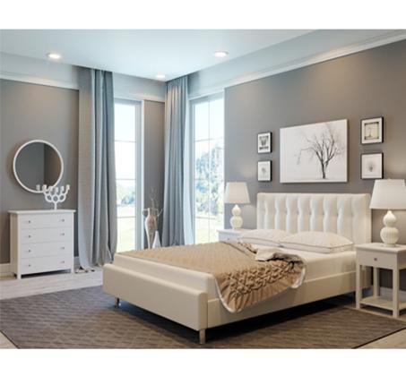 חדר שינה מלא BYANCA בעיצוב איטלקי ריפוד עור GAROX