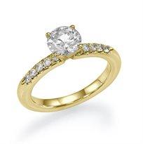 """טבעת אירוסין זהב צהוב """"ניקי"""" בשיבוץ 10 יהלומים במשקל 0.65 קראט"""