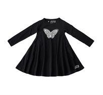 שמלת ג'רזי מסתובבת עם שרוול ארוך - שחור בשילוב הדפס פרפר