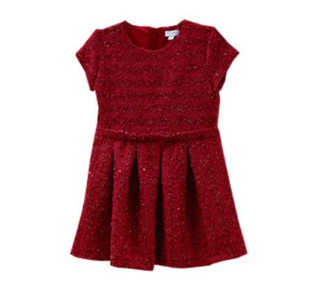 שמלה OVS בעיטור גלים ופאייטים לילדות - אדום