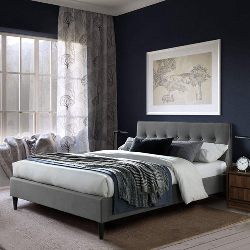 מיטת זוגית מרופדת 140X190 בריפוד בד עם רגלי עץ מלא דגם PONY