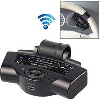 ערכת דיבורית ניידת המותקנת על גלגל ההגה סוללת ליתיום מובנת מגיע עם ספק כוח לשקע מצת לטעינת המכשיר