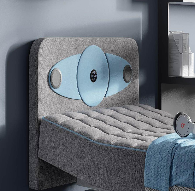 מיטת נוער Aeroflex מתכווננת דגם Hipster בשילוב ראש מיטה עם מערכת סראונד אלחוטית +מגן מזרן מתנה! - תמונה 2