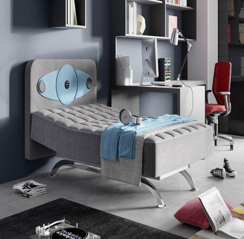 מיטת נוער מתכווננת בשילוב ראש מיטה עם מערכת סראונד דגם Hipster+מגן מזרן מתנה!