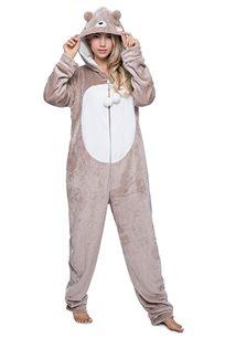 פיג'מת וונזי פלאפי דובי לנשים בצבע ניוד