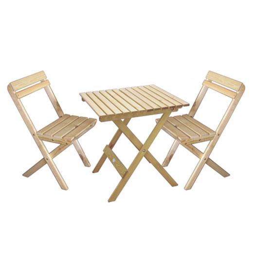 מפואר סט שולחן וכסאות לגינה או מרפסת מעץ מלא Wilma מבית BRADEX TV-31