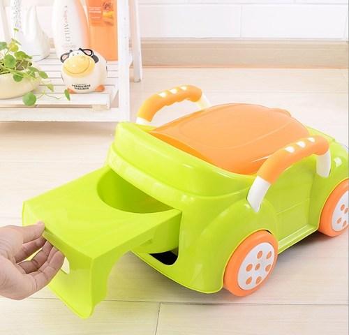 סיר גמילה מכונית חיפושית פולקסווגן עם מכסה ומגירת ריקון - לבן - תמונה 3