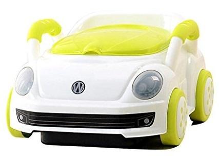 סיר גמילה מכונית חיפושית פולקסווגן עם מכסה ומגירת ריקון - לבן