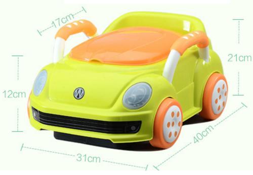 סיר גמילה מכונית חיפושית פולקסווגן עם מכסה ומגירת ריקון - לבן - תמונה 4