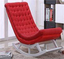 כסא נדנדה עם רגלי עץ מרופד בבד עדין בתיפור מרובעים במגוון צבעים HomeTown