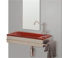 סט מושלם הכולל כיור זכוכית בצבע אדום ומראה
