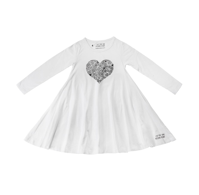 שמלת ג'רזי מסתובבת ארוכה - אופוויט עם לב גדול