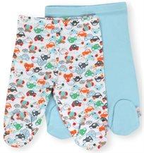 זוג רגליות לתינוק כותנה טריקו מידה 0-3 - תכלת