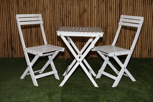 האחרון סט גינה הכולל שולחן מרובע ושני כסאות מתקפלים מעץ איכותי מבית 'גנים OI-93