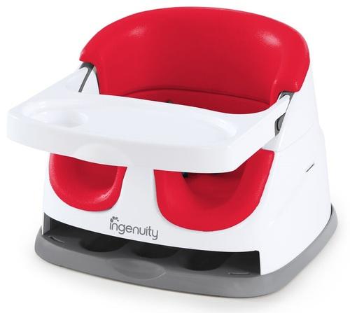 בוסטר אוכל מעוצב 2 ב 1 עם מושב ספוג פנימי ותא למגש - Poppy Red אדום