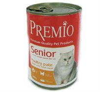 12 שימורי פרימיו סניור לחתולים זקנים בטעם עוף