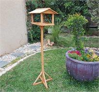 שולחן האכלה על עמוד לציפורים בגינה ובמרפסת