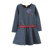 שמלה סטרצ'ית עם לורקס וטלאים לילדות בצבע כחול/אדום