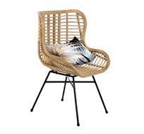 כורסא מראטן בגוון טבעי דגם אמיק ביתילי כוללת כרית נוי מתנה