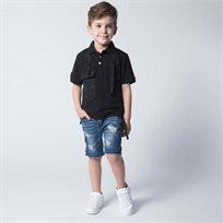 ORO חולצת פולו 2 כיסים שחורה (8-2 שנים)