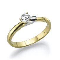 """טבעת אירוסין זהב צהוב """"קרוליין"""" 0.25 קראט F/Si1"""