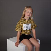 חולצת ORO לילדות (מידות 2-7 שנים) צהוב מנומר