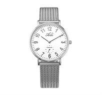 שעון יד לאישה עם רצועת רשת סרוגה וזכוכית ספיר לנשים בצבע כסף