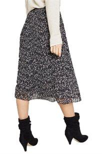 חצאית קפלים לנשים בצבע שחור מודפס
