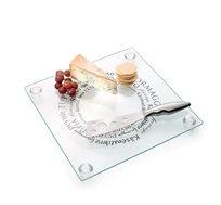 """סט חיתוך והגשת גבינות מרובע 32X32 ס""""מ מסדרת פרומאז'"""