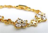 ייחודו של תכשיט! צמיד חוליות בצפוי זהב עם אלמנטים דמוי פרפרים משובצים אבני זרקון מלאכותיים