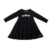 שמלת ג'רזי מסתובבת עם שרוול ארוך - שחור בשילוב הדפס לבבות