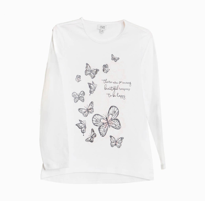 חולצה ארוכה OVS לילדות - לבן עם הדפס פרפרים