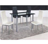 פינת אוכל בעיצוב איטלקי עם 4 כסאות בגימור ראנר שחור מזכוכית מבית GAROX