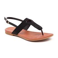 Inuovo - סנדל אצבע שטוח לנשים בעיצוב חבלים בצבע שחור