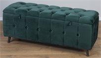 הדום ספסל ישיבה 100ס''מ  קטיפה קפיטונאז' נפתח מעוצב ירוק
