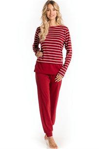 חליפת פנאי חולצת פסים GO UNDER cruise לנשים - יין או נייבי