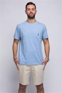 חולצת טישרט תכלת עם כיס צווארון עגול לוגו כחול POLO RALPH LAUREN