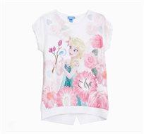 חולצה קצרה לילדות בצבע לבן עם הדפס פרוזן